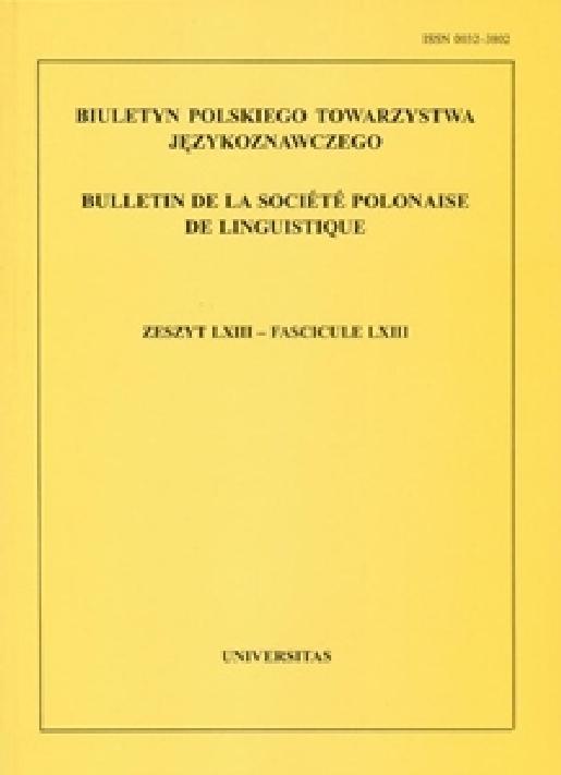 biuletyn polskiego towarzystwa j u0119zykoznawczego  zeszyt lix  issn 0032